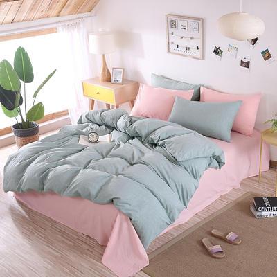 2020新款水洗棉四件套-纯色 1.2m床单款三件套 草绿+浅粉