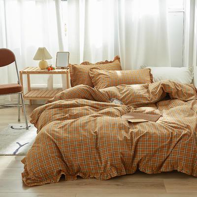 2020新款全棉水洗棉色织花边款四件套 1.5m床单款四件套 花边款 南瓜格