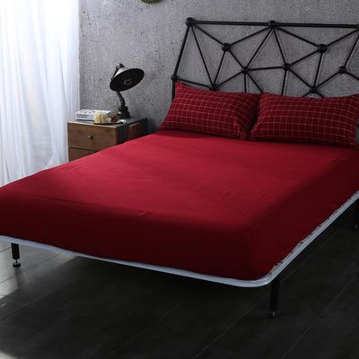 2020新款水洗棉单品格子床笠 适用于15-25cm之内的床垫 90X200+25 大红色