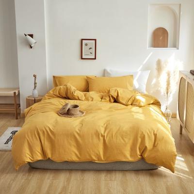 2021新款全棉色织水洗棉四件套 1.5m床单款四件套. 鹅黄纯色