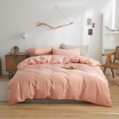 2021新款色织水洗棉四件套基础款经典花色 1.5m床单款四件套 粉素色