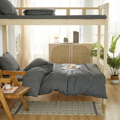 2021新款色织水洗棉学生宿舍三件套 0.9m床单款三件套 灰细条