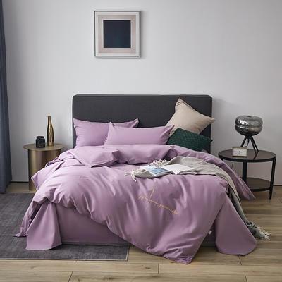 2021新款设计师签名款全棉磨毛刺绣四件套 1.5m床单款四件套 凤仙紫