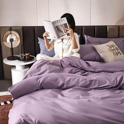 2021新款设计师签名款全棉磨毛刺绣四件套  模拍 1.5m床单款四件套 凤仙紫