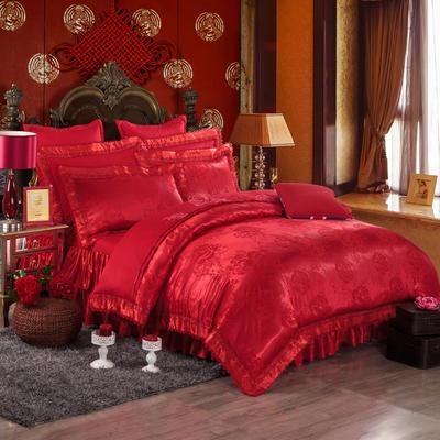 提花加棉床裙床罩四件套六件套 1.5米床 浮华格调