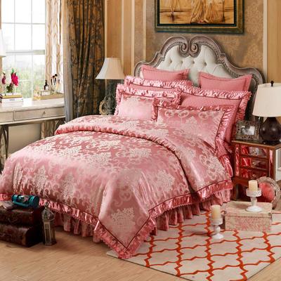 提花加棉床裙床罩四件套六件套 1.5米床 梦曼
