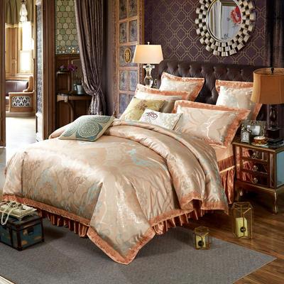 新款提花床裙四件套 可以定做长枕套 /只 华丽盛典(钛古金)