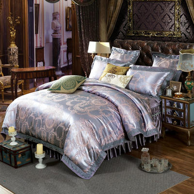 新款提花床裙四件套 可以定做长枕套 /只 莱茵春色