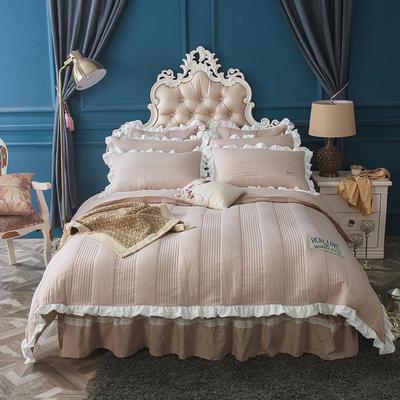 水洗棉绗缝床裙四件套-安琪尔 双人长枕套/只 安琪儿-卡其色