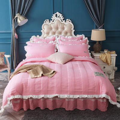 水洗棉绗缝床裙四件套-安琪尔 双人长枕套/只 安琪儿-粉玉