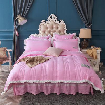 水洗棉绗缝床裙四件套-安琪尔 双人长枕套/只 安琪儿-粉红