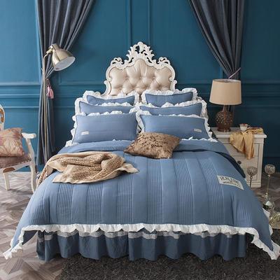 水洗棉绗缝床裙四件套-安琪尔 双人长枕套/只 5.安琪儿-艳兰