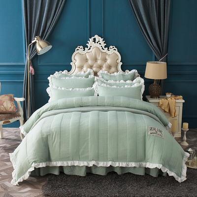 水洗棉绗缝床裙四件套-安琪尔 双人长枕套/只 安琪儿-绿色