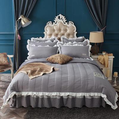 水洗棉绗缝床裙四件套-安琪尔 双人长枕套/只 安琪儿-灰色