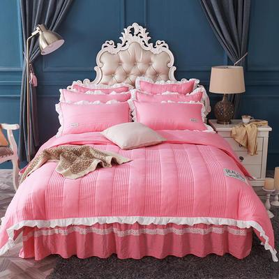 水洗棉绗缝床裙四件套-安琪尔 双人长枕套/只 安琪儿-西瓜红