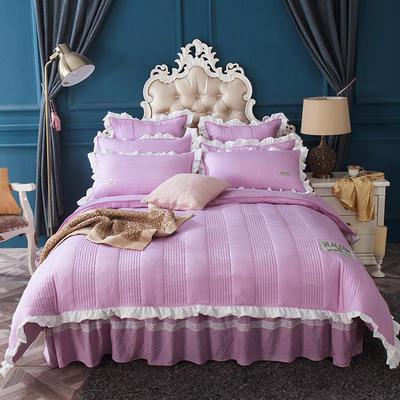 水洗棉绗缝床裙四件套-安琪尔 双人长枕套/只 安琪儿-紫色