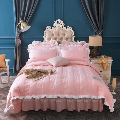 水洗棉绗缝床裙四件套-安琪尔 双人长枕套/只 安琪儿-玉色
