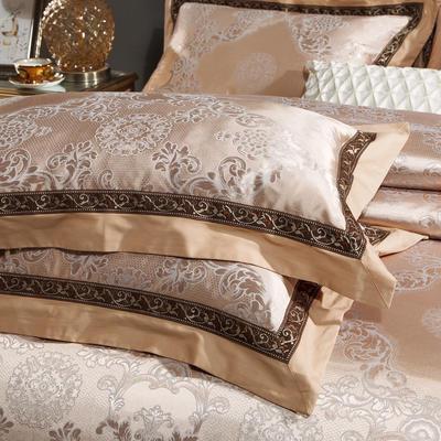 2018纯棉贡缎提花夹棉床盖四件套六件套七件套 2米床 时尚雅宝150*48/只(提花长枕套)