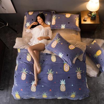 2018新款260克加厚金貂绒四件套 1.2m(4英尺)床 菠萝青春