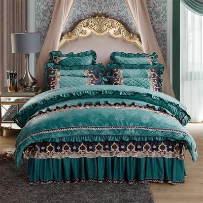 2018新款水晶绒压花拉链款四件套-豪庭盛世 1.5m床 床裙款(四件套) 豪庭盛世-翡翠绿