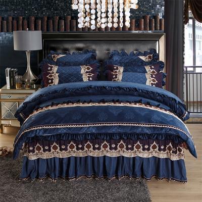2018新款水晶绒压花拉链款四件套-豪庭盛世 1.5m床 床裙款(四件套) 豪庭盛世-宝石蓝