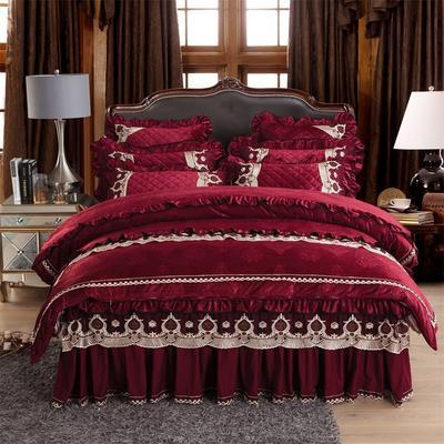 2018新款水晶绒压花拉链款四件套-豪庭盛世 1.5m床 床裙款(四件套) 豪庭盛世-酒红