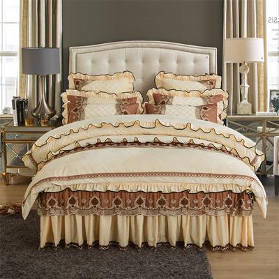 2018新款水晶绒压花拉链款四件套-豪庭盛世 1.5m床 床裙款(四件套) 豪庭盛世-象牙白