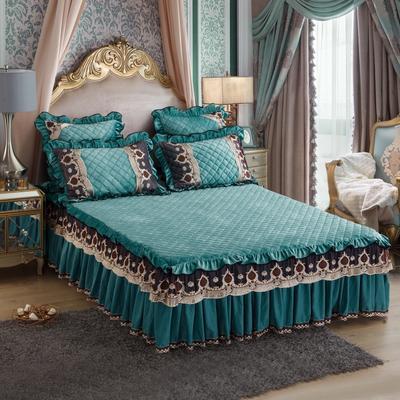 2018新款水晶绒压花拉链款单床裙 150cmx200cm 豪庭盛世-翡翠绿