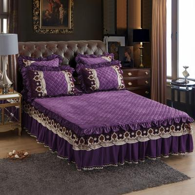2018新款水晶绒压花拉链款单床裙 150cmx200cm 豪庭盛世-优雅紫