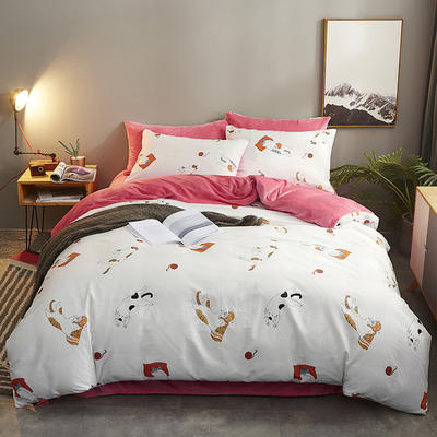 2019新款全棉+水晶绒四件套 1.2m床(床单款三件套) 懒猫