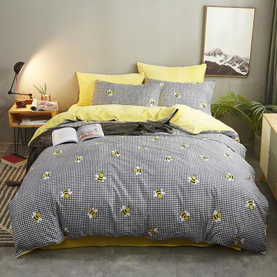 2019新款全棉+水晶绒四件套 1.8m床(床单款四件套) 小蜜蜂