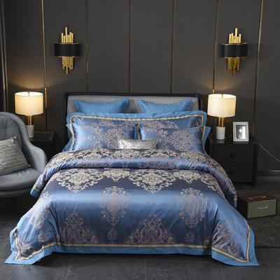 2019新款贡缎提花夹棉床盖四、六、七件套 1.8m床(四件套) 托德斯皇家蓝