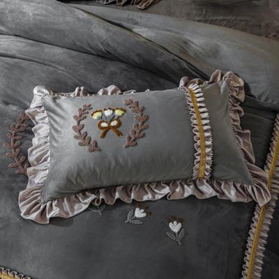 2019新款羊棉绒甜蜜节日单品枕套 48cmX74cm/对 奢华灰
