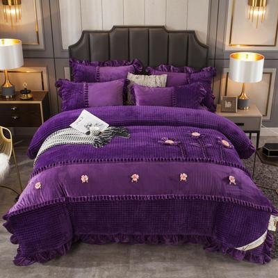 2019新款魔法绒手工盘花(三花争艳)四件套 1.5m(5英尺)床单款 紫色