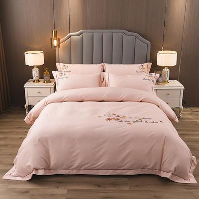 2020新款纯棉刺绣夹棉床盖四件套 1.5m床盖款四件套 红枫-淡雅玉