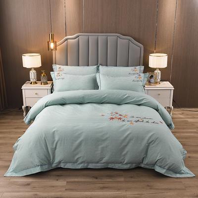 2020新款纯棉刺绣夹棉床盖四件套 1.5m床盖款四件套 红枫-翡翠绿