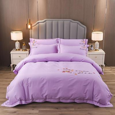 2020新款纯棉刺绣夹棉床盖四件套 1.5m床盖款四件套 红枫-梦幻紫