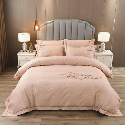 2020新款纯棉刺绣夹棉床盖四件套 1.5m床盖款四件套 红枫-暖阳驼