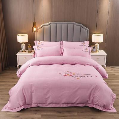 2020新款纯棉刺绣夹棉床盖四件套 1.5m床盖款四件套 红枫-水晶粉