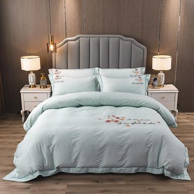 2020新款纯棉刺绣夹棉床盖四件套 1.5m床盖款四件套 红枫-天空蓝