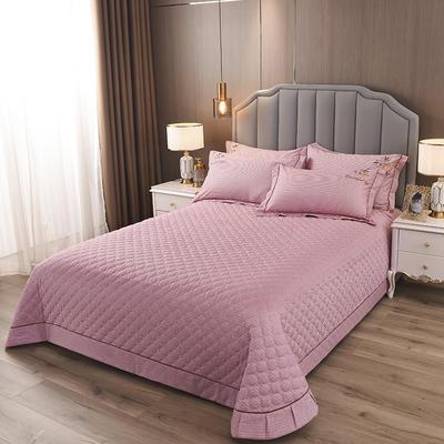 2020新款纯棉刺绣夹棉床盖四件套-单品 200*230cm单被套 红枫-红豆沙