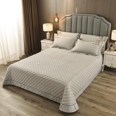 2020新款纯棉刺绣夹棉床盖四件套-单品 200*230cm单被套 红枫-浅米灰