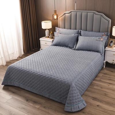 2020新款纯棉刺绣夹棉床盖四件套-单品 200*230cm单被套 红枫-绅士灰