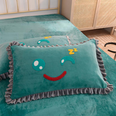 2020牛奶绒花边毛巾绣四件套---你的微笑 1.5m床单款四件套 翡翠绿