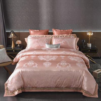 2020新款全棉贡缎提花夹棉床盖四件套六件套七件套 1.5m床盖款四件套 奥斯卡香槟粉