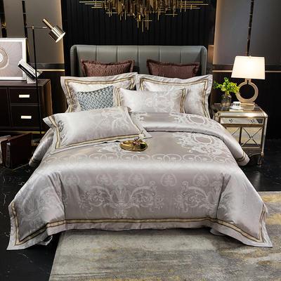 2020新款全棉贡缎提花夹棉床盖四件套六件套七件套 1.5m床盖款四件套 布鲁塞尔银灰