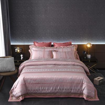 2020新款全棉贡缎提花夹棉床盖四件套六件套七件套 1.5m床盖款四件套 道格拉斯玫瑰金