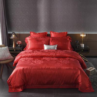 2020新款全棉贡缎提花夹棉床盖四件套六件套七件套 1.5m床盖款四件套 花香情缘大红