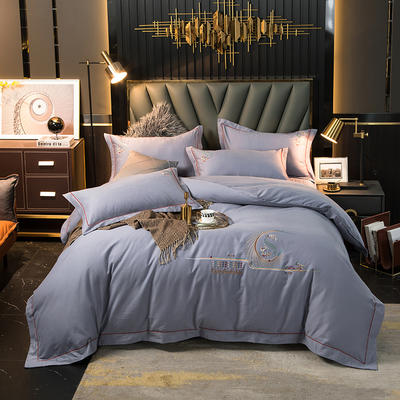 2020新款100s全棉磨毛刺绣床盖四件套 1.8m床盖款四件套 圣罗兰-时尚灰