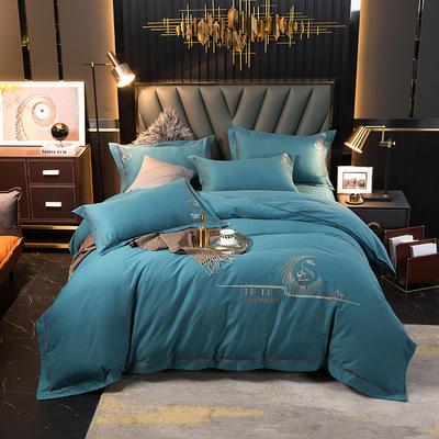 2020新款100s全棉磨毛刺绣床盖四件套 1.8m床盖款四件套 圣罗兰-孔雀蓝